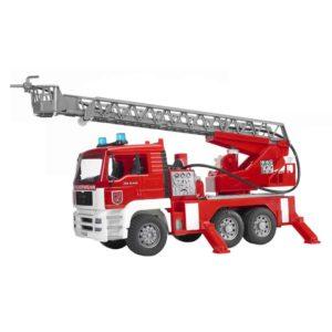Geschenkideen für Jungen - Platz-7 Bruder 02771 - MAN Feuerwehr mit Drehleiter, Wasserpumpe und Light & Sound Modul